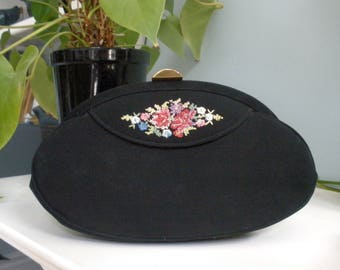 Beautiful Black Fabric Clutch With Floral Accent By Virginia Art