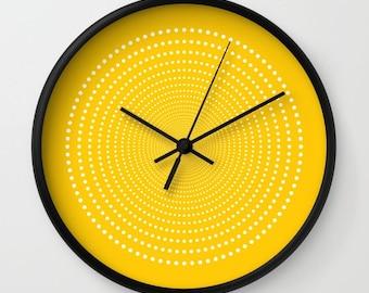 36 colours: Vortex Pattern Wall Clock, White dots wall clock, Geometric Pattern Modern Wall Art, Crocus yellow wall clock