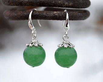 Green aventurine earrings, Aventurine earrings, Aventurine silver earrings, Aventurine drop earrings, Silver earrings aventurine.