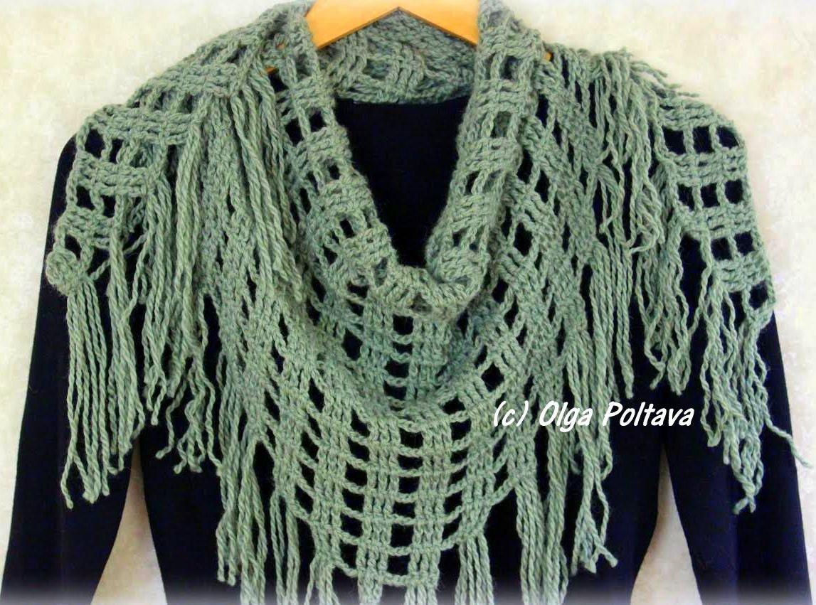 Triangular Scarf Crochet Pattern, Winter Shawl, Crochet Scarf ...