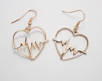 Heartbreaker Earrings - Gold Heart Heartbeat Drop Larme Jfashion