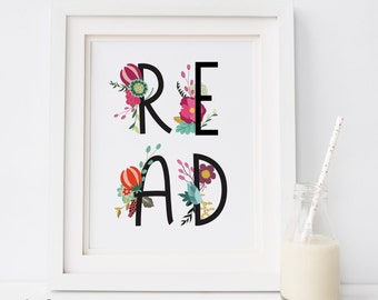 Read wall Art Print, SALE DECOR, read Wall Decor, Book Lover Gift, Instant Digital Download, Reading Art, read quote, artprintsfactory, READ
