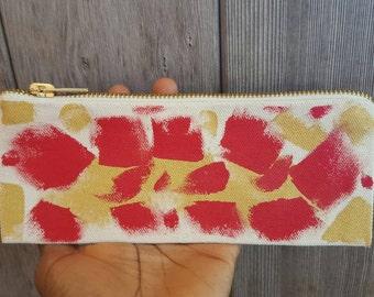 Handpainted canvas zipper pencil case pouch