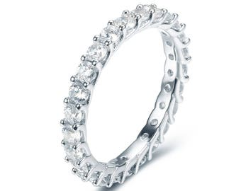 Stackable Eternity CZ .925 Sterling Silver Ring Wedding Women Size 3.5-14 Ss3405