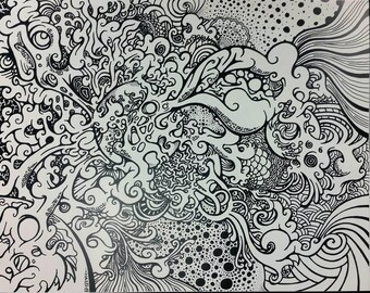 14x11 Print// Psychedelic brain Matter//black and white