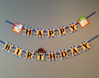 Phineas and ferb birthday party, Phineas and ferb birthday banner, Phineas and ferb party decorations