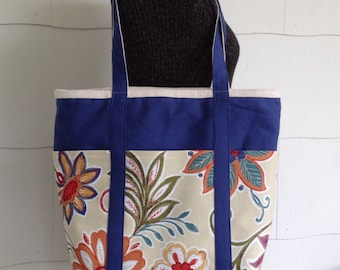 Custom Made to Order, Custom Made Large Beach Bag, Large Diaper Bag, Large Tote Bag, Zippered Top With Pockets