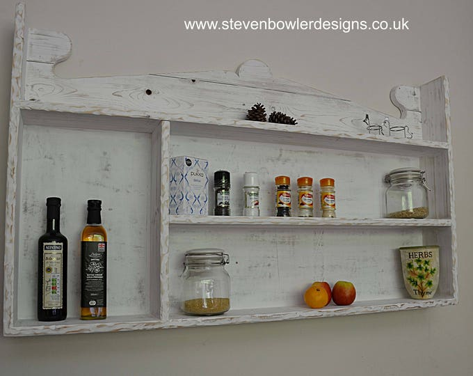 FREE UK SHIPPING Farmhouse Country Cottage Reclaimed Wood Kitchen Shelving Unit Coastal White Decorative Rustic Edging Handcrafted To Order