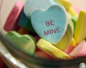 Be Mine Valentine Photography, Whimsical Conversation Heart Candy Jar, Dreamy Pastel Blue Yellow Green Pink Love Photo, Valentines Art Print