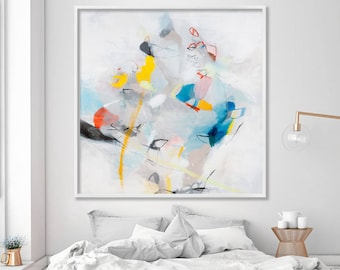 Large ABSTRACT GICLEE print from modern Painting Large wall art, white painting with blue beige yellow by Duealberi