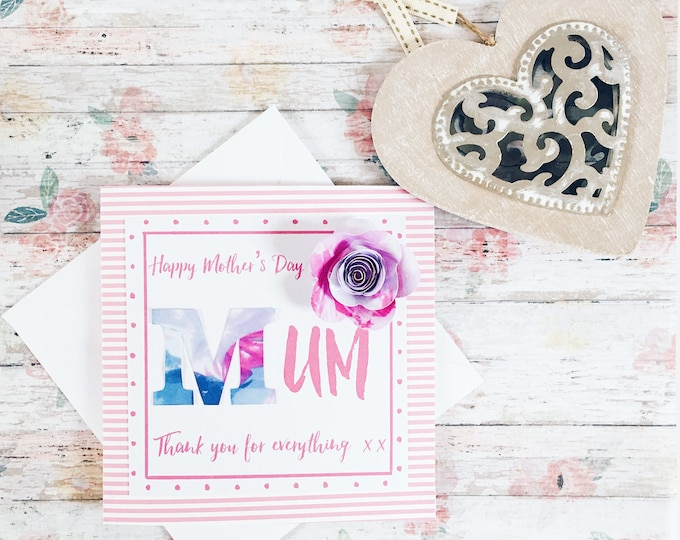 Mother's Day card, Mother's Day greeting card, handmade card, handmade Mother's Day card, gifts for her, floral card, rose card