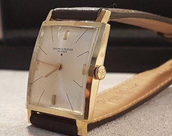 Baume & Mercier Elipse Lady yellow 18 k gold mechanical worms 1970