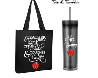teacher tote bag and tumbler set, teacher gift, personalized tote bag, personalized teacher tumbler, stocking stuffer, personalized gift
