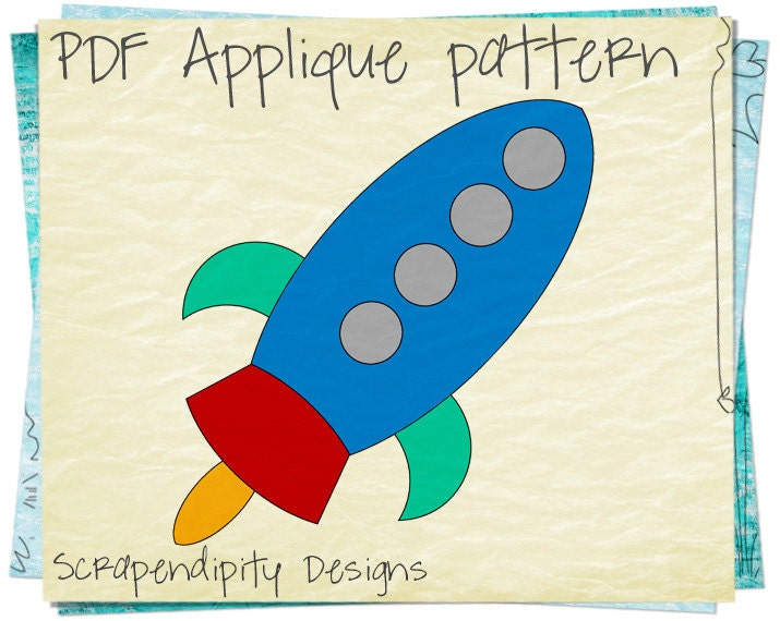 Rocketship Clothing Applique Template Space Iron On Pattern