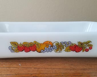 Vintage Fire King Nature's Bounty Baking Pan by Anchor Hocking