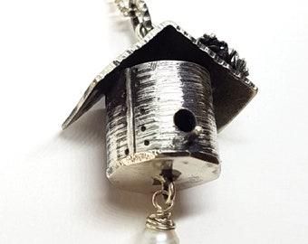 Mossy Birdhouse Pendant