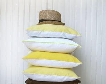 Drifter cushion cover in a French vintage metis linen, hand dyed, yellow and white, euro sham 16x16 inches