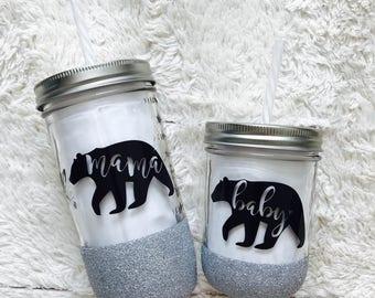 Mama & Baby Bear - Glitter Dipped Mason Jar Tumbler Set