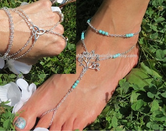 Celtic Tree of Life Barefoot Sandals Set with Slave Bracelet... set of 3. Pair Barefoot Sandles with a hand chain bracelet, Body Jewelry