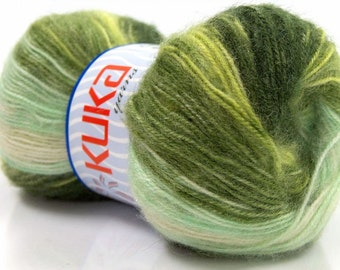 ice yarns angora wool kuka acrylic 2 fine sports baby  green shades yarn self striping self patterning magic strips 100 gr 481 yds etsy