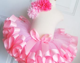 Pink Tutu - Ribbon Trim Tutu - 1st Birthday Tutu - Easter Tutu - Pink Princess Tutu - Ballerina Tutu - Easter Skirt - Toddler Tutu - Easter