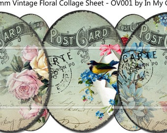 30mm x 40mm Ovals Instant Digital Download Collage Sheet Vintage Birds Victorian Roses Daisies Floral Postcards Tags ECS OV001