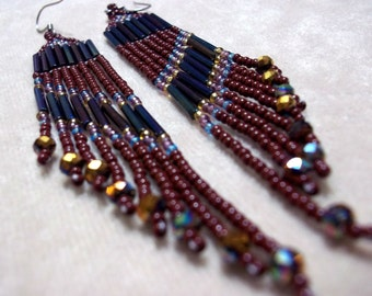 Carpal Tunnel Going Out of Business Sale! Bold, Brown, Long Fringe, Seed Bead Earrings, Bold Earrings, Statement Earrings, Colorful Earrings