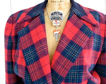 80s Tartan Plaid Crop Jacket Vintage Bomber - Stephanie by Suzelle - Red & Blue Plaid Cropped - M