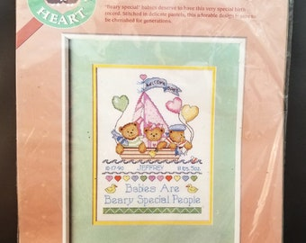 From the Heart by Dimensions, Bears in Boat Birth Record Cross Stitch Kit, 53537, 9x12 inches, vintage, NIP, 1989, design by Barbara Yates