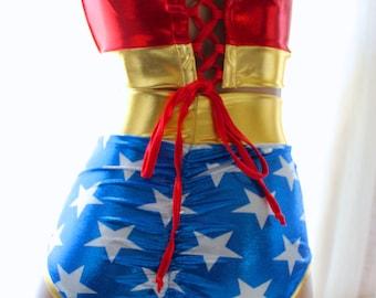 Sugarpuss Wonder Woman Costume Set, BUSTIER Top, HIGHWAIST Bottoms, Gold Lasso Rope, Headband, Cuffs, Lace-Up Back