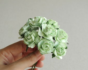 25mm Mint Green Paper Peonies - 10 pieces of mulberry paper flowers with wire stems [165-e]