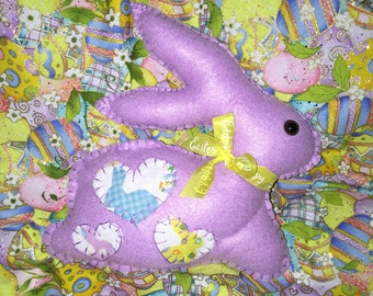 Purple Felt Easter Bunny