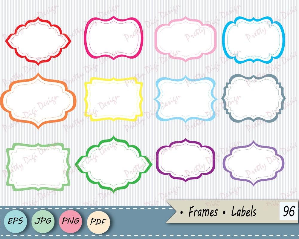 Instant download clipart Frames PNG JPG vector eps Labels