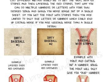 Baseball Vinyl, Pattern Vinyl, HTV, Dirty Baseball, Adhesive, Outdoor 651 Vinyl, Heat Transfer Vinyl, Iron On Vinyl