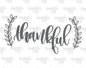 Thankful svg, Thanksgiving svg, Thanksgiving Shirt svg, Handlettered svg with Hand drawns Wreath, Cutting Files for Silhouette and Cricut