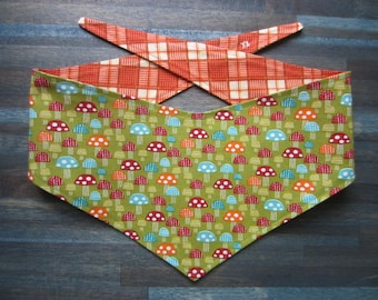 S-M reversible tie on dog bandana - mushrooms/orange plaid Kanine Kerchief