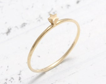 Tiny Star Thin Band Solid Gold Stacking Ring