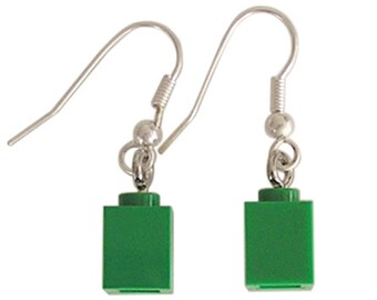 Dark Green LEGO (R) brick 1x1 on a Silver/Gold plated dangle (hook)