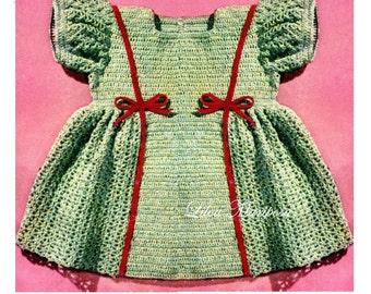 Crochet DRESS Pattern Vintage 40s baby Girl Dress Pattern Crochet baby Dress Pattern Crochet Newborn Dress Pattern