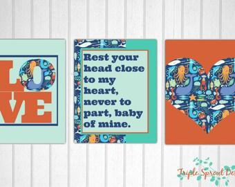 Tula Splash, Nursery Wall Art, Tula Art, Digital Art, Modern Nursery Wall Art, Tula Pattern, Baby Wall Art, Sealife Wall Art, Sealife Tula