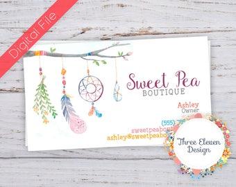 Boho Printable Business Card - Dream Catcher Business Card - Feather Business Card