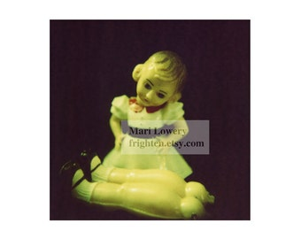 Creepy Cute Hard Plastic Vintage Doll Small Wall Art 5x5 Inch Photography Print
