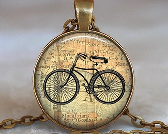 Vintage Bicycle & Map necklace, cyclist gift, bicycle jewelry, bicycle pendant antique bicycle keychain bicycle key chain key fob key ring