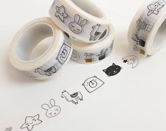 Cute Doodle Character Washi Tape