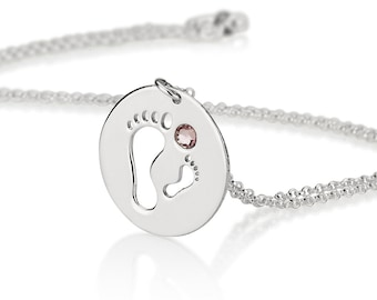 Mothers Necklace - Sterling Silver Baby Footprint Birthstone Mother Necklace, New Mom Necklace
