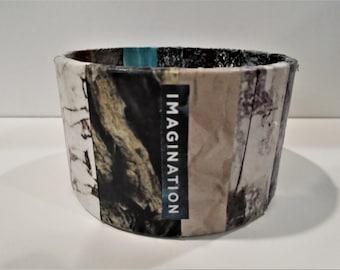 Bangle Bracelet, Decoupage Bracelet, Tape Roll bracelet, Upcycled Jewelry, madislandartist, Diane Marie, One of a kind,  FREE SHIPPING