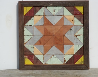 wooden barn quilt, geometric art, salvaged wood art