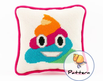 Emoji Rainbow Poop Needlepoint or Cross-stitch Pattern, Instant Download File, Unicorn Glitter Poop, Modern Fun Stitching, Needlepoint Emoji