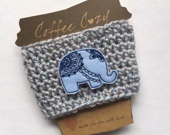 Blue Elephant Cozy - Cup Sleeve - Elephant Lover Cup Sleeve - Coffee Cozy - Coffee Cup Cozy