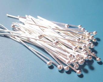 "50 pcs of Silver plated Ball End Head Pins w/ 2mm Ball .7x20mm, 22ga 3/4"" inch long HP1059"